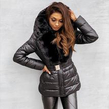 Women Fashion Mid-waisted Quilted Faux Fur Hooded Parka Coat