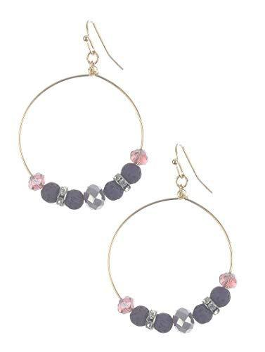 Stone and Bead Wire Dangle Earrings (Purple)