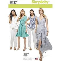 Simplicity Creative Patterns 8137 Misses' and Plus Size Wrap Dresses, Top and Pa - $14.70