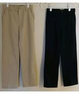 2 Old Navy Size 10 Slim Adjustable Waist Tan Blue School Pants Youth Clo... - $15.95
