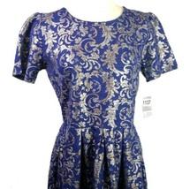 Lularoe Elegant Amelia Dress Blue Gold Silver Baroque Stretch Fit and Flare XL - $90.95
