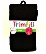 Trimfit Black Tights Two Pair Soft Fleece Lining Size Large 10-14 Weight... - $11.88