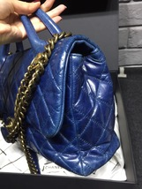 AUTHENTIC CHANEL BLUE QUILTED GLAZED CALFSKIN 2 WAY HANDLE FLAP BAG GHW image 5