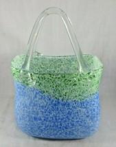 Vintage heavy glass handmade basket vase Pop Art Deco - $30.00