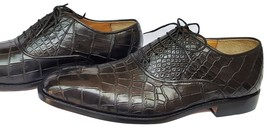 Crocodile Genuine Leather Shoes Oxford Derby Handmade Plain Toe Size US 9-10 - $759.99 - $799.99