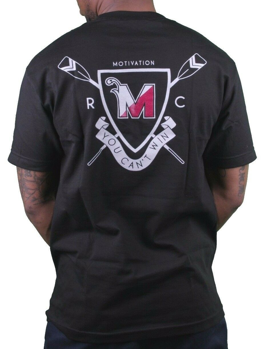 Motivation Ann Arbor Noir Hommes University Aviron Club T-Shirt USA Fabriqué Nwt