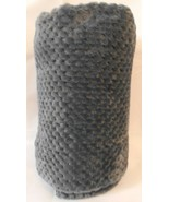 Hotel Collection Shiny Velvet Throw 50 X 60 Gray Blue Textured Nubby Sup... - $22.99