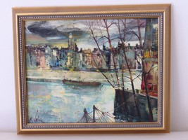 Marc Selva Authentic Signed and Framed Oil on Canvas Painting, France - $500.00
