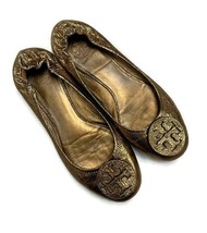 Tory Burch Reva Logo Bronze Metallic Pebbled Ballet Flats Shoes Size 10 - $82.79