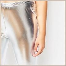 Tight Metallic Silver Stretch Faux Latex Plus Size Elastic Waistband Leggings   image 4