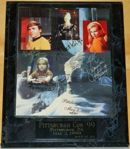 Star Trek Chekov Borg Queen Yeoman Rand Naomi Wildman Autographed Photo Plaqued