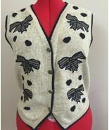 Christopher Banks Tan Embroidery Appliqué Knit Sleeveless Cardigan Vest ... - $16.74