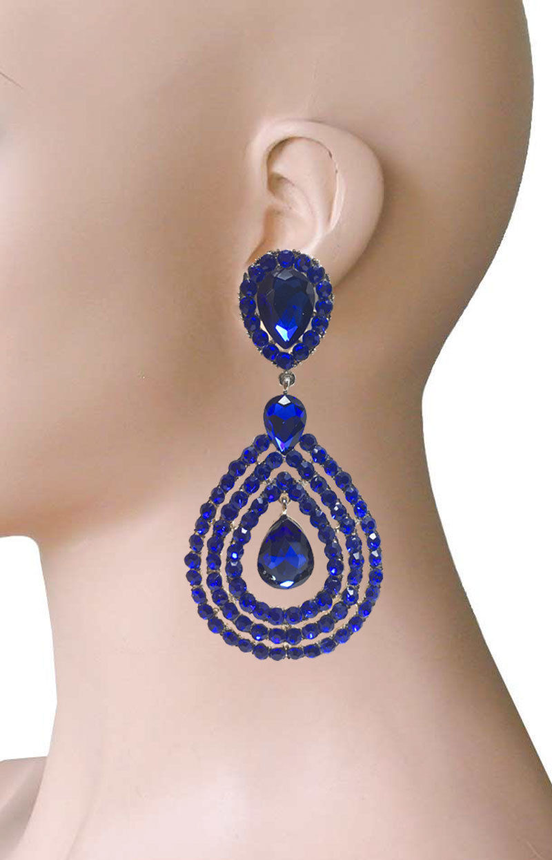 9.5cm Long Pince Soirée Boucles D'Oreilles Royal Bleu Faux-Diamants Drag Queen