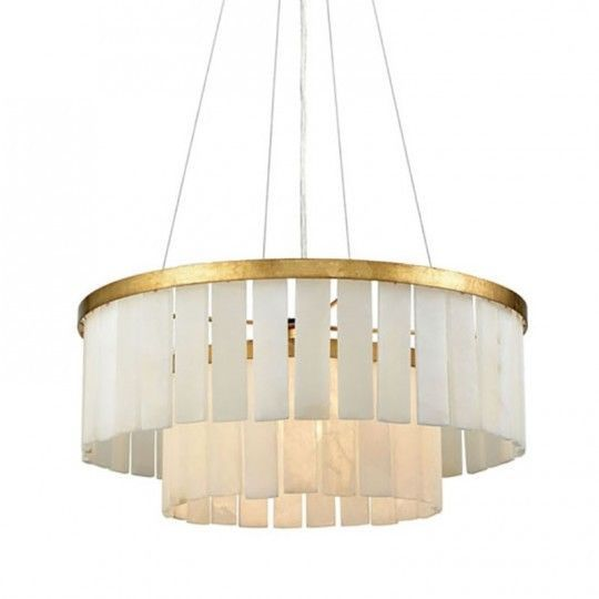 Primary image for Gold Drum Chandelier Odeon Fringe, Made Goods Patricia Replica $1017