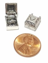 RING IN JEWELRY BOX FINE PEWTER PENDANT CHARM - 8.5x11.5x7mm image 2