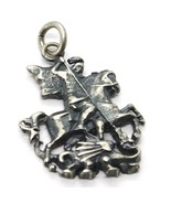 Silver Pendant 925, Burnished and Satin, Knight and Dragon, Fairy Tale - $57.41
