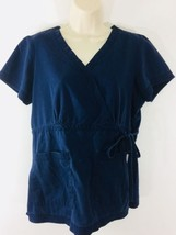 Koi Scrub Top Womens Size M Solid Dark Blue Side Tie Pocket Front Uniform - $13.89