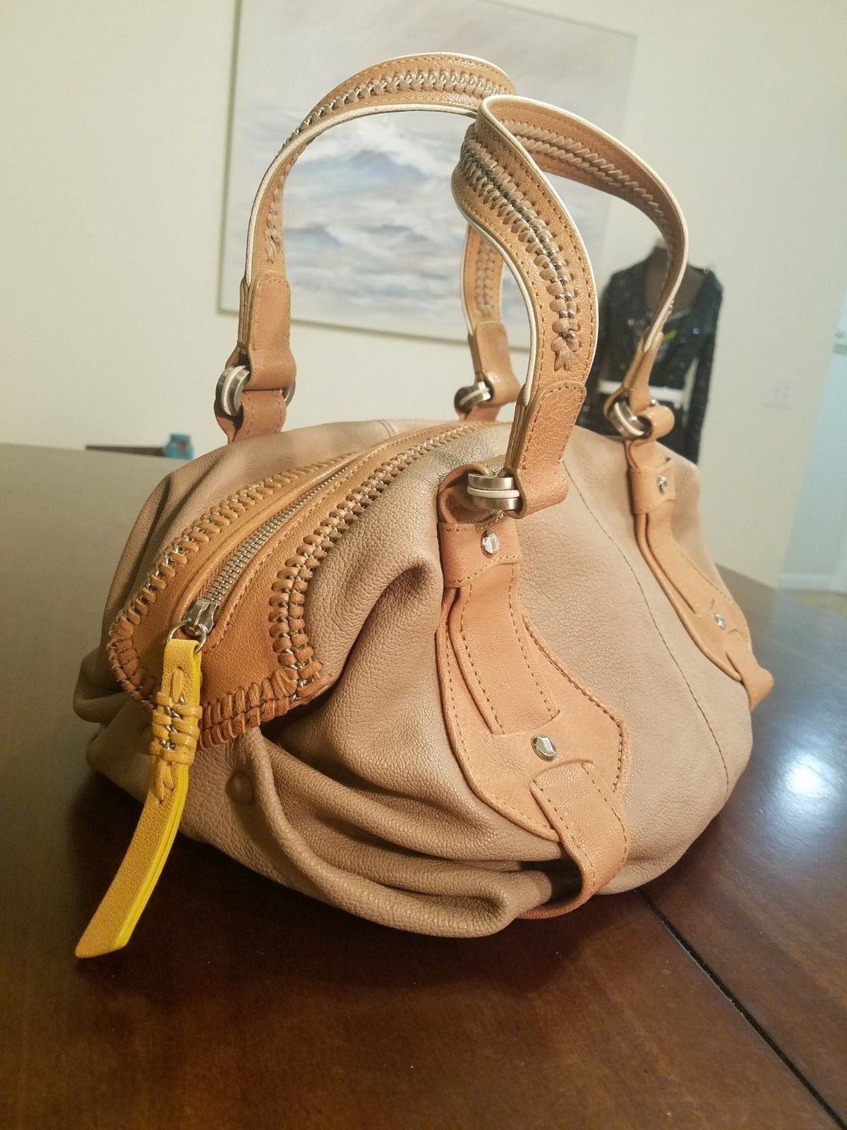 3027972e1a S l1600. S l1600. Previous. Cole Haan Collection Beige Nude Tan Yellow  Chain Accents Satchel Handbag NWOT