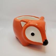"Ceramic Animal Planter, 5"" Orange Flora the Fox Pot for succulents plants image 2"