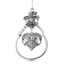 Inspired Silver Iraq Pave Heart Snowman Holiday Christmas Tree Ornament With Cry - $14.69