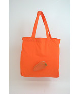 Bey Berk Orange Carrot Re-usable Foldable Bag Recycled Leather/Nylon - $14.95