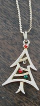 Pretty Gold Tone Christmas Tree Pendant, With Gold Tone Chain, Red/Green... - $7.91