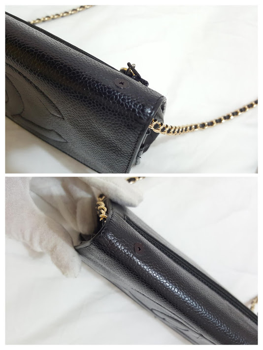 Auth Chanel Timeless Black Caviar Leather Gold Chain Wallet WOC Crossbody Bag image 10