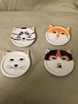 Lot Of 4 Ceramic Assorted Cat Head Drink Coasters  - $16.82