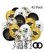 2021 Graduation Balloons 42 Black Gold Decoration Birthday Party Decor S... - $29.69