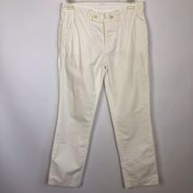 Designer Helmut Lang $360 Cotton Skinny Pants Cropped Ivory Size 0 - $29.65