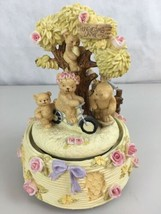 Rosy Bear By Hathaway Musical Box Bears HoneyComb Lane  Pink Roses - $18.76