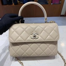 NEW AUTH CHANEL QUILTED LAMBSKIN BEIGE TRENDY CC 2 WAY HANDLE FLAP BAG GHW