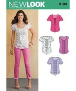 Simplicity New Look Pattern 6104 Misses Button Front Tops with Sleeve Va... - $8.82