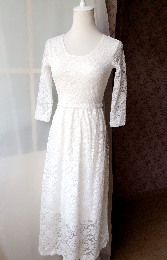 Ivory White Lace Boho Dress long Sleeve Lace Dress Easy Fitted Wedding Dress NWT