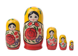 "Traditional Nesting Doll w/ Rose 5pc./4"" - $19.20"