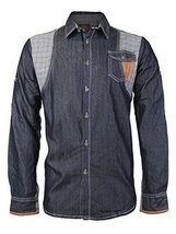 Platini Men's Multi Tone Patch Checkered Casual Button up Dress Shirt (Large, Bl