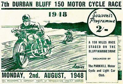 Primary image for 1948 Durban Bluff 150 Motorcycle Race - Promotional Advertising Poster