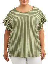 Terra & Sky Women's Scoop Neck Ruffle Sleeve Shirt 3X (24-26W) Stripe Ba... - $15.83