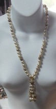 Vintage Faux Pearl Aurora Borealis Crystal Tassel Gold-tone Filigree Nec... - $44.55