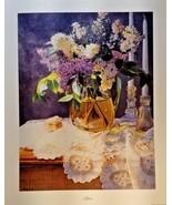 "Lilacs Mary Kay Krell print 26"" x 32"" purple lace candles signed COA - $17.81"