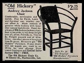 Chair Old Hickory Andrew Jackson Martinsville IN 1907 AD - $9.99