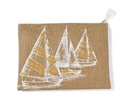 "Mud Pie JUTE CARRY-ALL CASE ""Aweigh We Go"" NAUTICAL CLUTCH Sailboat 9x12... - $16.94 CAD"