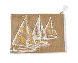 "Mud Pie JUTE CARRY-ALL CASE ""Aweigh We Go"" NAUTICAL CLUTCH Sailboat 9x12... - $260,52 MXN"