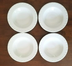 """ONEIDA Evening Pearls Embossed White 9"""" Salad/Soup Bowls x 4 - $43.07"""