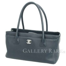 CHANEL Executive Line Tote Bag Calf Leather Navy A67282 Italy Authentic ... - $2,015.75