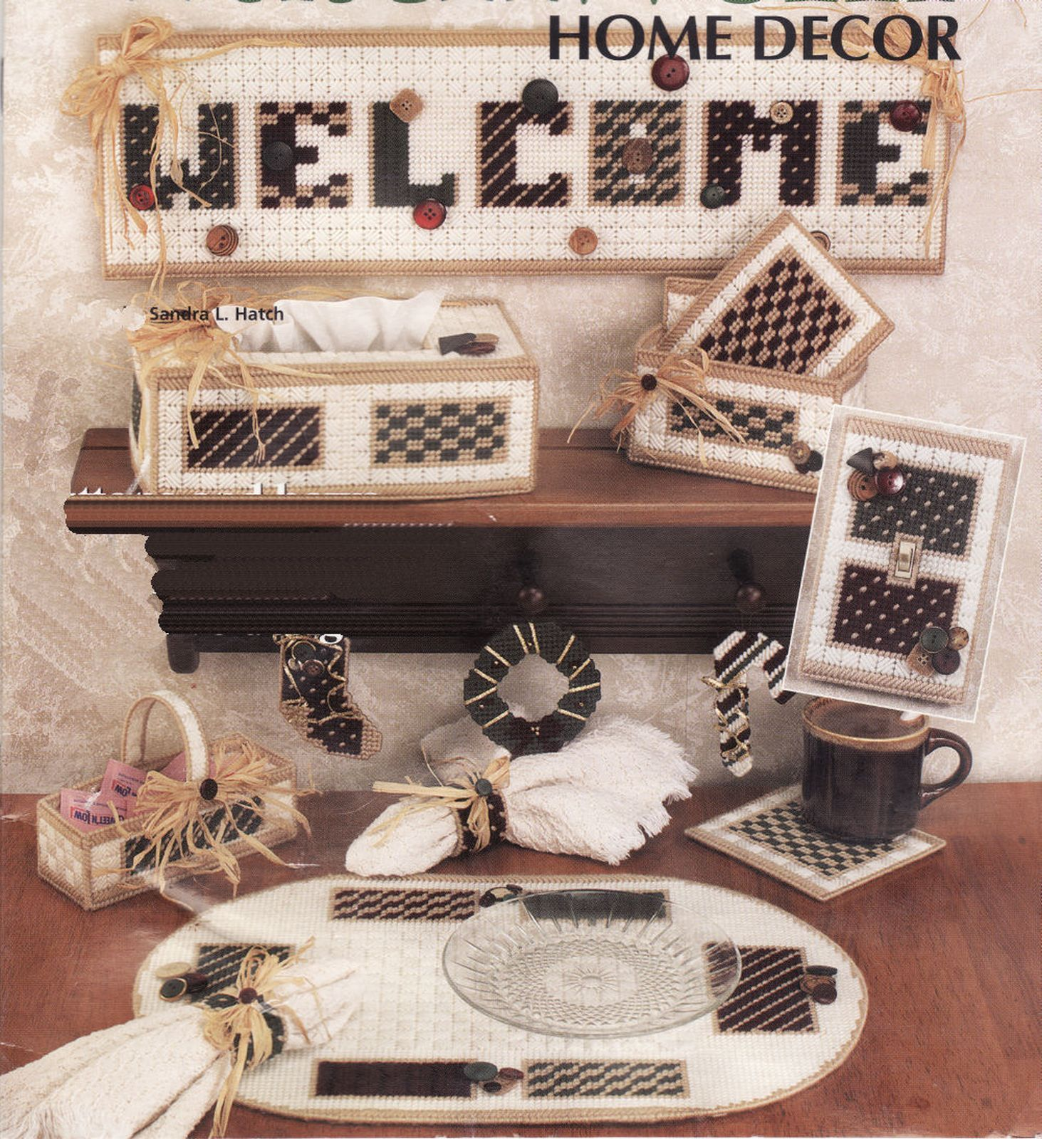 11 Plastic Canvas Country Patchwork Tissue Cover Place Mat Sign Coaster Pattern - $13.99