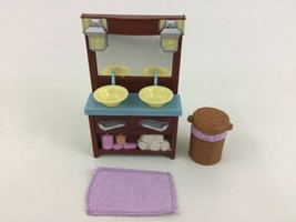 Fisher Price Loving Family Dollhouse Bathroom 3pc Lot Sink Basket and To... - $12.82