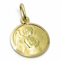 SOLID 18K YELLOW GOLD ROUND MEDAL, SAINT GABRIEL ARCHANGEL, DIAMETER 15mm image 2