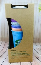 RARE Starbucks Marbled  Reusable Hot Cups 6 Cups With 6 Lids 16 Ounce Ne... - $26.18