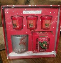 Yankee Candle Red Apple Wreath Votive Gift Set w/Reindeer Votive Holder - $17.75